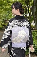 【帯2613】絽綴地 蘇州刺繍 袋帯