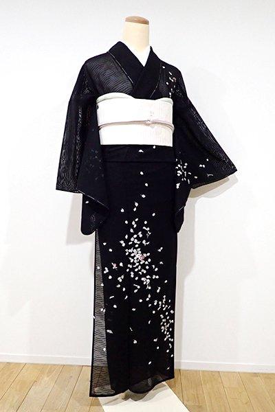 WEB限定【B-1837】紋紗 付下げ 黒色 椿の図(しつけ付)