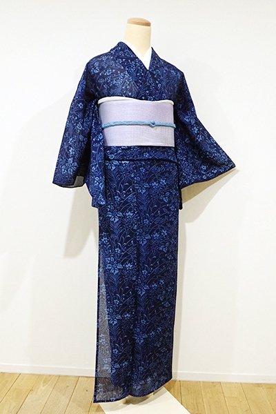 WEB限定【D-1921】絽 小紋 藍色濃淡 秋草の図