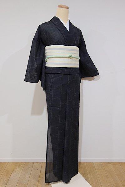 世田谷【D-1924】きもの英製 夏紬地風 小紋 黒色 抽象文