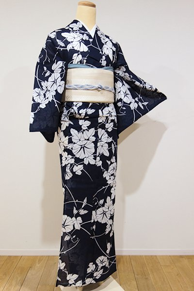 世田谷【D-1925】綿紅梅 浴衣 濃藍色 朝顔の図