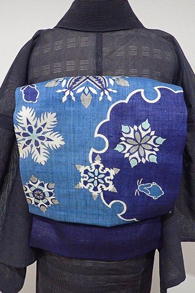 あおき【K-5057-2】栗山工房製 麻地 染名古屋帯 藍色 雪兎の図(反端付・落款入)(N)