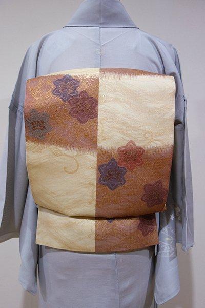WEB限定【L-3653】紗袋帯 市松段暈かしに桔梗の図 (三越扱い)