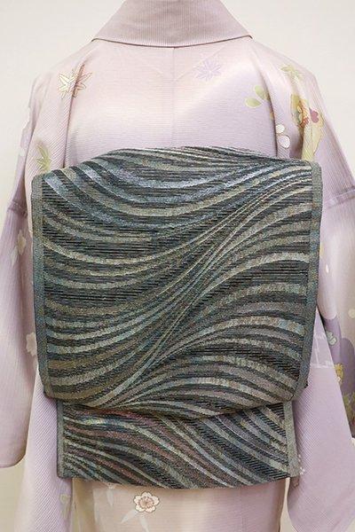 あおき【L-3656】絽袋帯 藍墨茶色 モダンな流線図