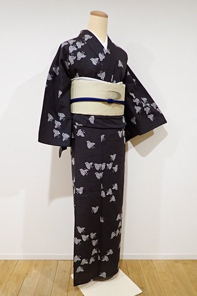 銀座【D-1930】竺仙製 浴衣 墨色 千鳥の図