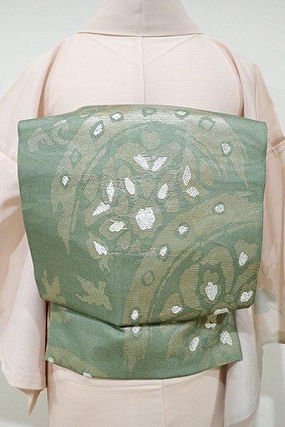 WEB限定【L-3657】紗 袋帯 麹塵色 上代裂文