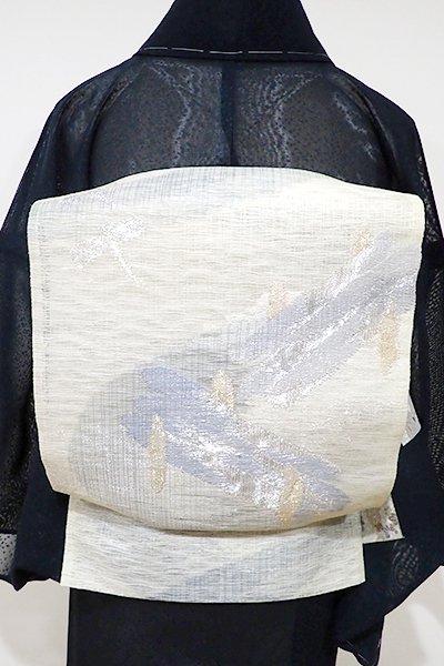 WEB限定【L-3658】波筬織 袋帯 白練色 橋に蜻蛉の図