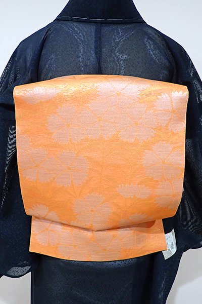 WEB限定【L-3659】西陣 織悦製 紗 本袋帯 橙色 撫子の図(落款入り)