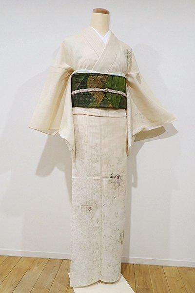 あおき【B-1847】(L) 紋紗 訪問着 淡い蜂蜜色 萩に雪輪文