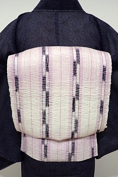 あおき【K-5149】粗紗 八寸名古屋帯 白練色×黒色×淡紅藤色 縞
