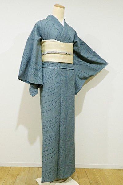 銀座【D-1934】きもの英製 単衣 縮緬地 小紋 錆御納戸色 流線