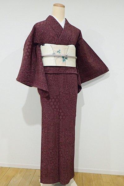 銀座【D-1935】↑Sサイズ↓きもの英製 単衣 楊柳 小紋 紫鳶色 裂取り更紗風文様