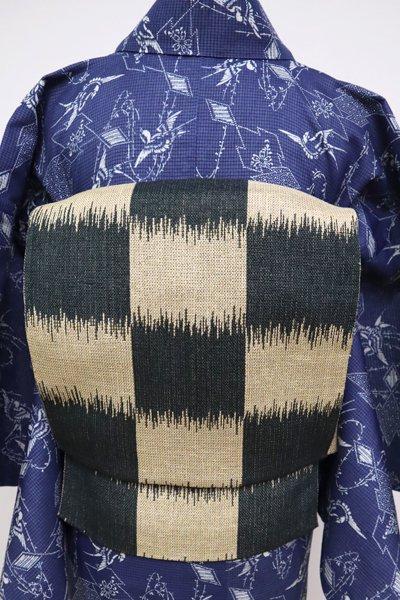 WEB限定【K-5155】紬地 八寸名古屋帯 枯色×革色 市松絣