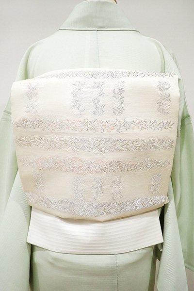 銀座【L-3668】絽 袋帯 練色 段に装飾文