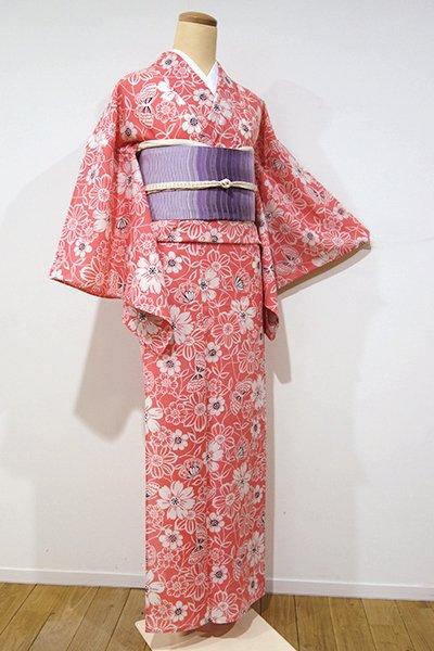 WEB限定【D-1937】↑Sサイズ↓→ホッソリ←絽 小紋 真朱色 花に蝶の図