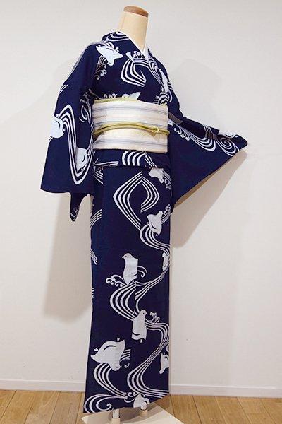 世田谷【D-1939】→ホッソリ←竺仙製 綿コーマ 浴衣 鉄紺色 波に千鳥(三越扱い)