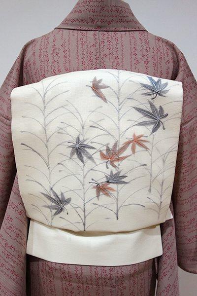 WEB限定【K-5161】絽 染名古屋帯 鳥の子色 芒に楓の図