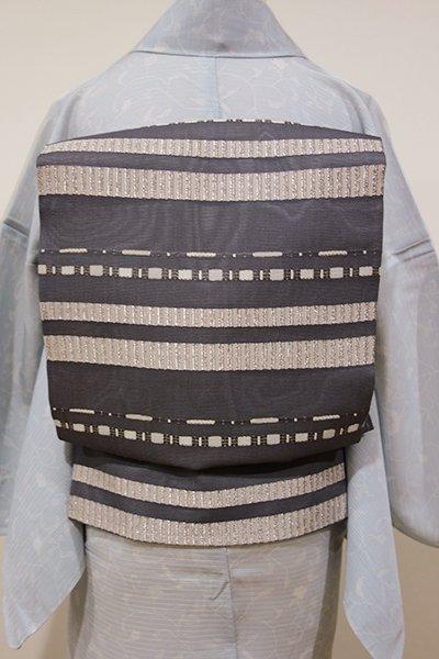 WEB限定【K-5164】紗 織名古屋帯 灰色 モダンな横段(未使用)