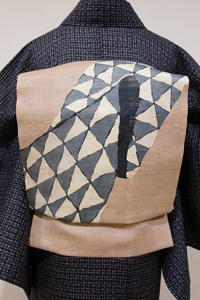 WEB限定【K-5170】麻絽 染名古屋帯 白茶色 鱗の抽象文