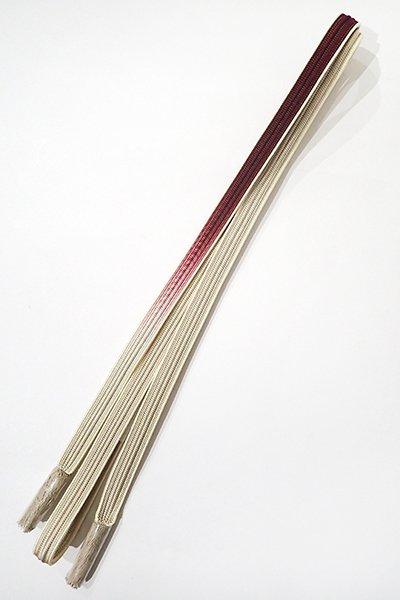 世田谷【G-889-3】京都 衿秀製 帯締め 畝打組 海老茶色×絹鼠色 暈かし(新品)