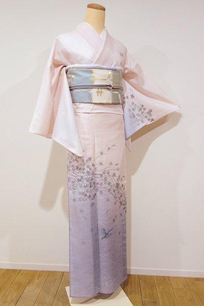 WEB限定【B-1853】染一ッ紋 紋紗 付下げ 桜色×藤鼠色 青楓にかわせみの図 (落款入)
