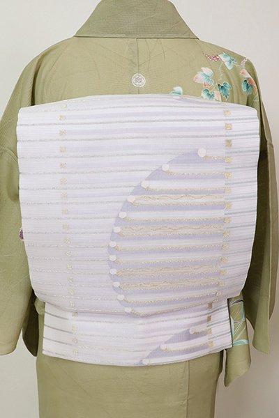 あおき【L-3670】西陣 洛陽織物製 夏袋帯 白色 抽象文(落款入)