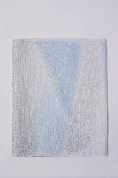 【G-1003-2】京都 衿秀製 絽 帯揚げ 二色暈かし 勿忘草色×白色 (新品)