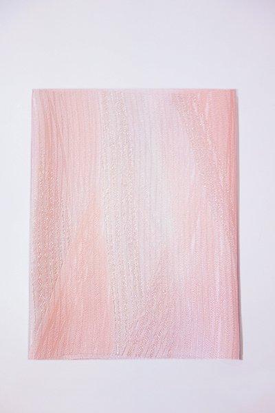 銀座【G-1004-2】京都 衿秀製 絽 帯揚げ 二色暈かし 珊瑚色×白色 (新品)
