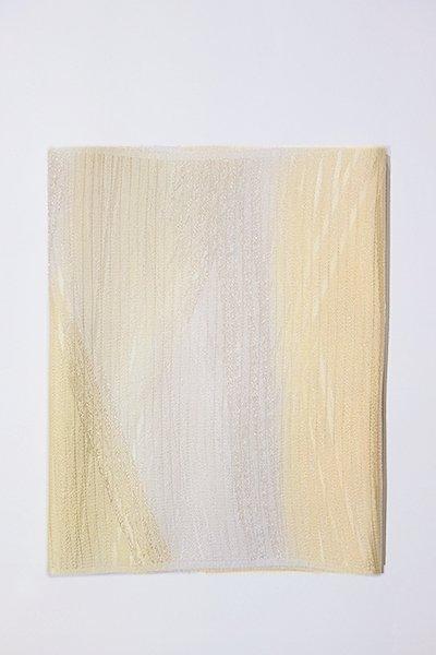 銀座【G-1005】京都 衿秀製 絽 帯揚げ 二色暈かし 蜂蜜色×白色(新品)