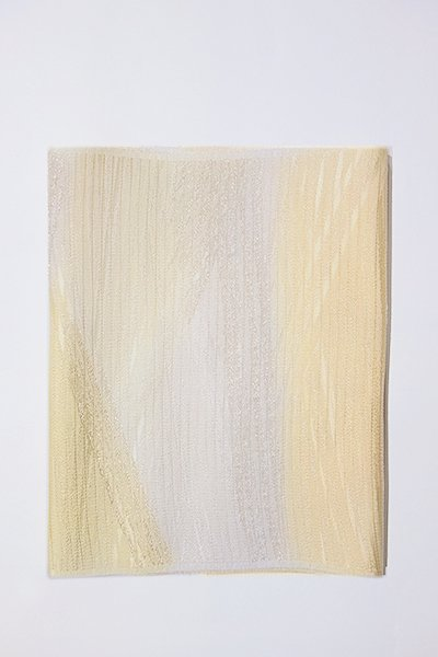 【G-1005】京都 衿秀製 絽 帯揚げ 二色暈かし 蜂蜜色×白色(新品)