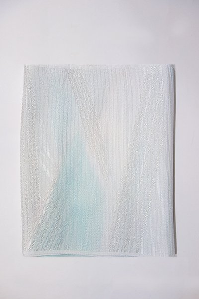 銀座【G-1006-2】京都 衿秀製 絽 帯揚げ 二色暈かし 瓶覗色×白色(新品)