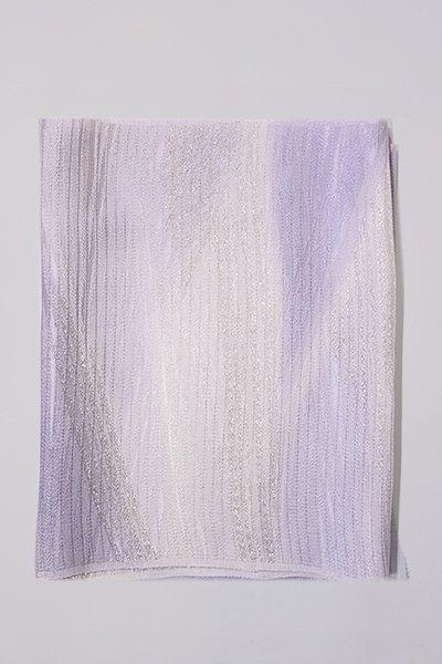 【G-1008-2】京都 衿秀製 絽 帯揚げ 二色暈かし 白藤色×白色(新品)