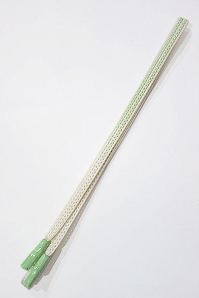 【G-1012】京都 衿秀製 帯締め レース組 暈かし 白色×若竹色(新品)