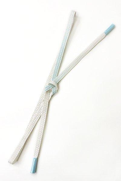 【G-1013】京都 衿秀製 帯締め レース組 暈かし 白×水色(新品)