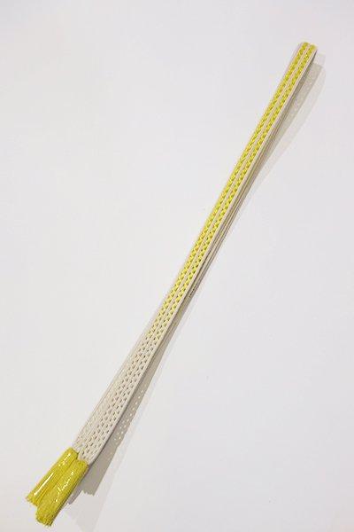 銀座【G-1015】京都 衿秀製 帯締め レース組 暈かし 白色×黄檗色(新品)