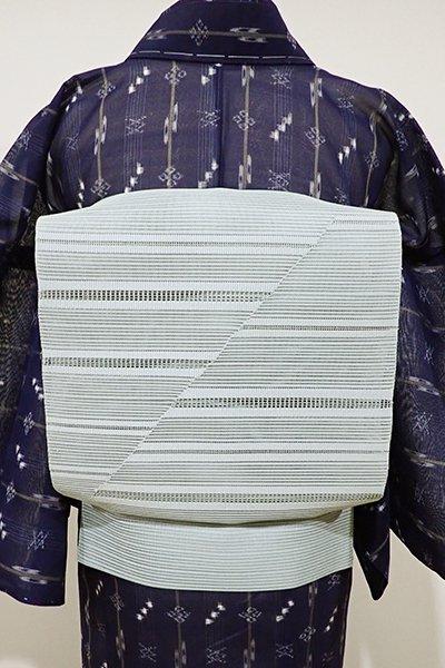 WEB限定【K-5183】絽綴れ 八寸名古屋帯 青磁鼠色 横段