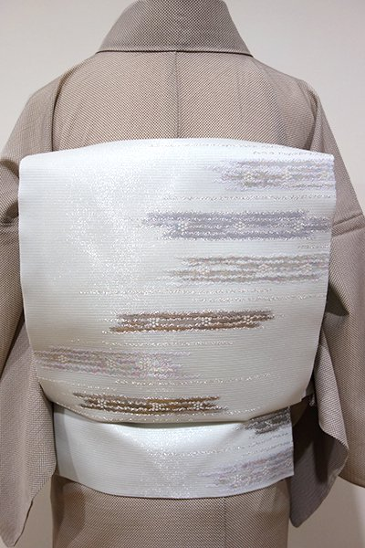 WEB限定【K-5188】西陣製 絽 織名古屋帯 白緑色 霞文(証紙付・新品)