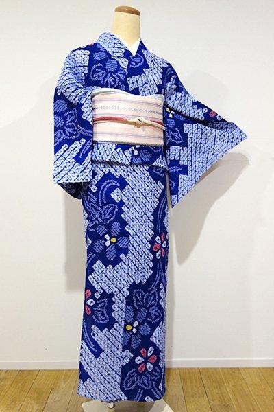 あおき【D-1943】絞り浴衣 明るい藍色 大らかな花文