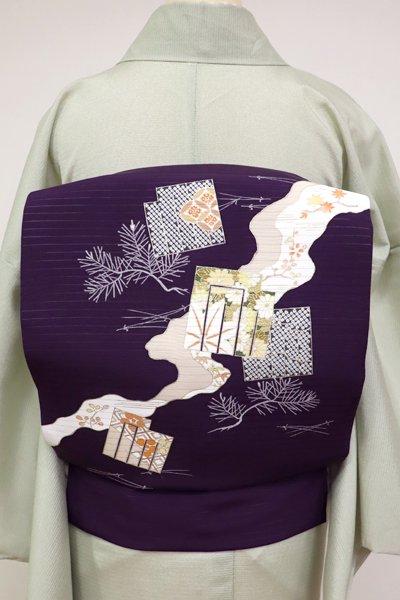 あおき【K-5194】菱健製 絽塩瀬 染名古屋帯 深紫色 道長取りに源氏香の図 (N)