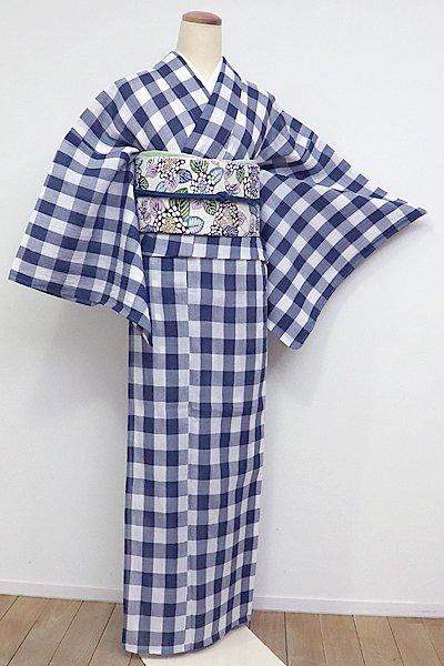 あおき【A-2431】小千谷縮 白色×濃藍色 格子(証紙付・新品)