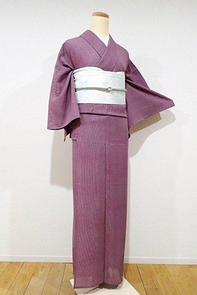 あおき【C-1371】(S・広め)絽 江戸小紋 似せ紫色 万筋(落款入)
