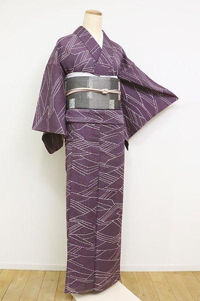 あおき【D-1946】(S・細め)紋紗 小紋 滅紫色 抽象文