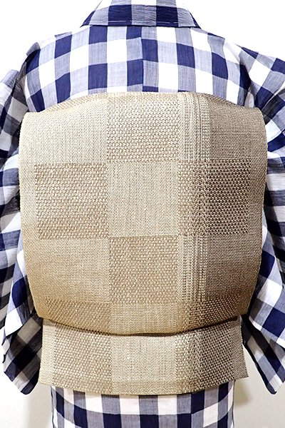 WEB限定【K-5200】絹紙布 織八寸名古屋帯 白橡色 竪暈かし