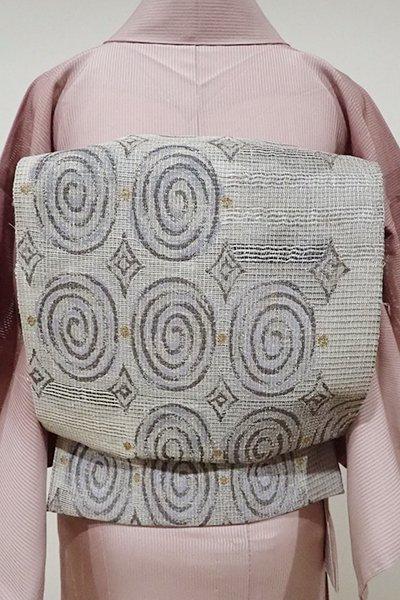 WEB限定【L-3687】絽 洒落袋帯 利休白茶色 渦の装飾文