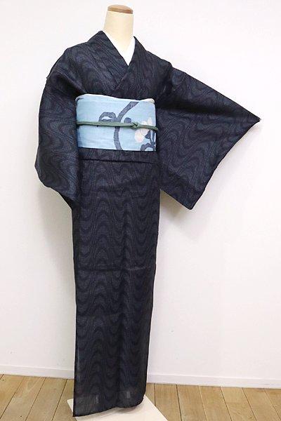 銀座【A-2432】(S・細め)麻上布 濃藍色 流線文