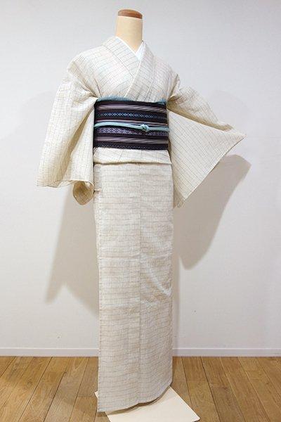 銀座【A-2433】近江ちぢみ 練色 細やかな格子(しつけ付・証紙付・新品)