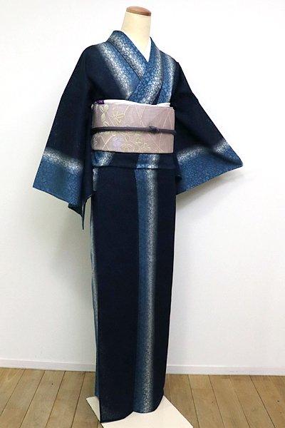銀座【A-2436】(L) 紋紗 御召 褐返色×白色×藍色 竪暈かし(しつけ付)