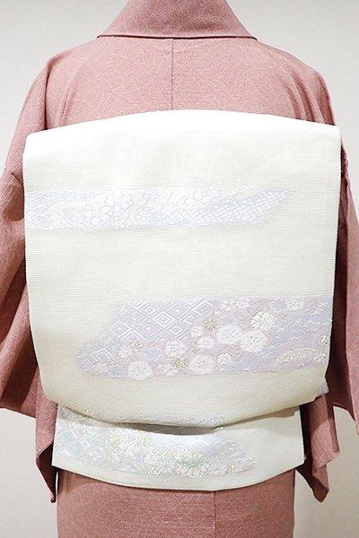 WEB限定【K-5210】絽 織名古屋帯 淡い若芽色 霞に吉祥文