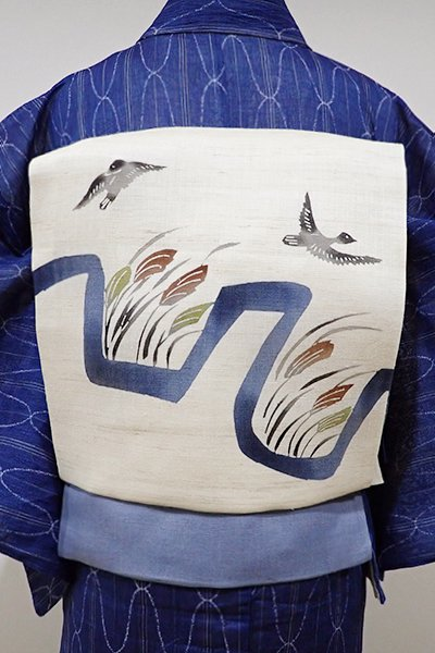 WEB限定【K-5214】麻地 型染め 名古屋帯 練色 芒や雁の図