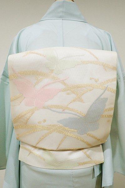 WEB限定【K-5216】西陣製 紗 織名古屋帯 練色 露芝に蝶の図(証紙付)